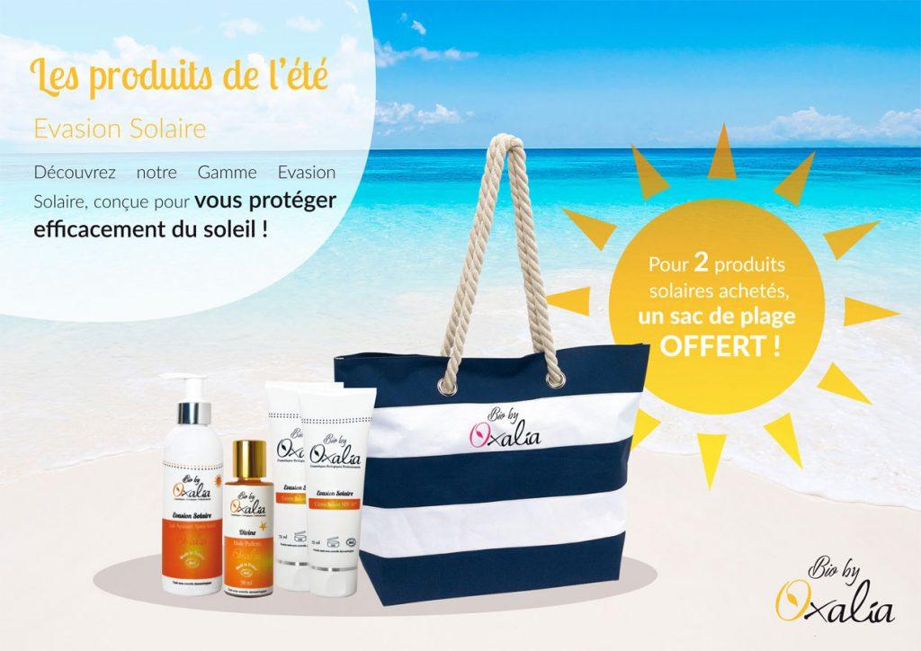 Oxalia offre un sac de plage pour 2 produits solaires achetés